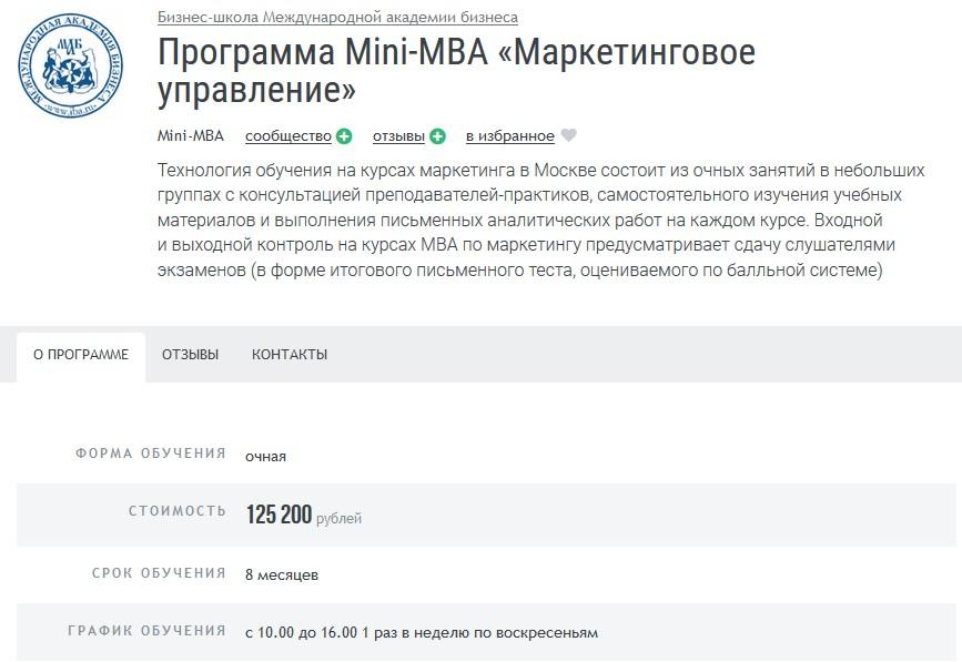 Курс Mini-МВА «Маркетинговое управление» при Международной академии бизнеса