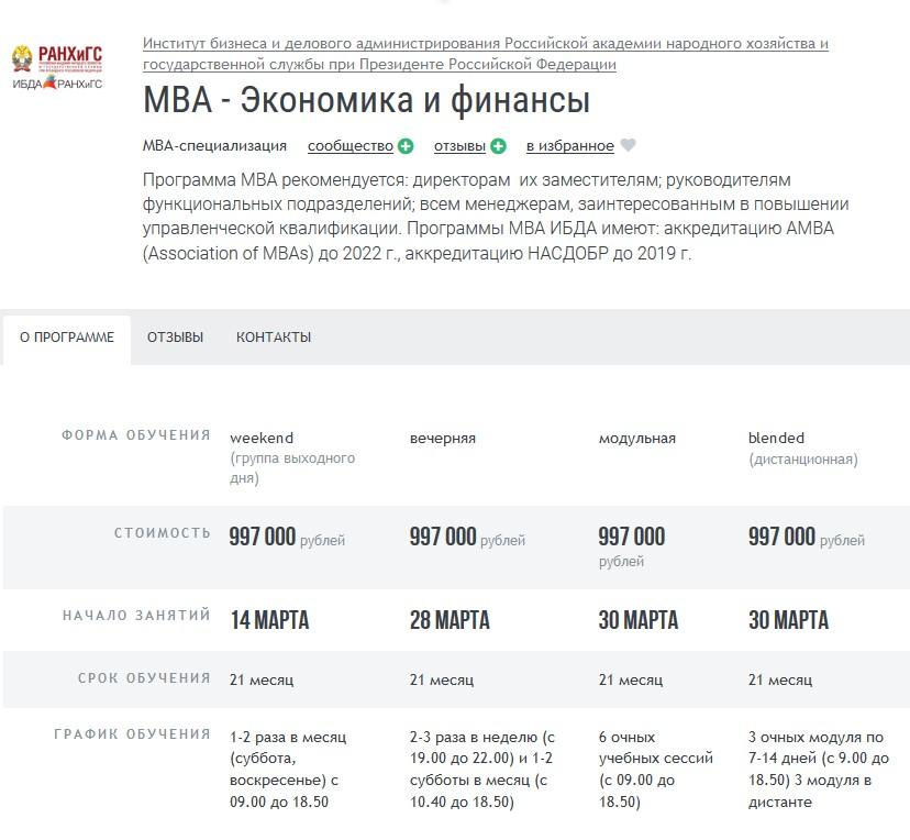 Курс МВА «Экономика и финансы» при РАНХиГС