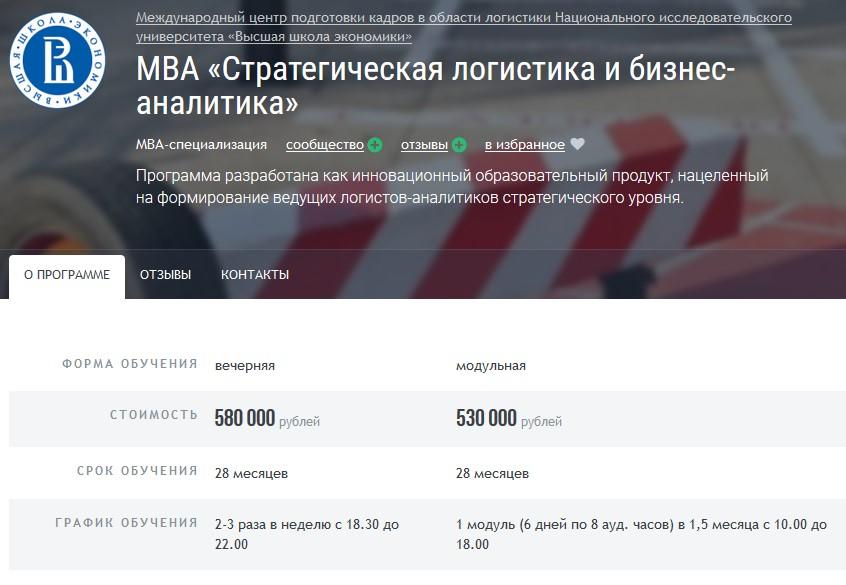 МВА «Стратегическая логистика и бизнес-аналитика» при ВШЭ