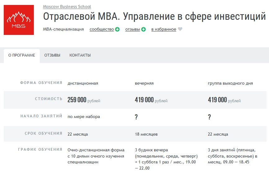 МВА «Управление в сфере инвестиций» при Moscow Business School