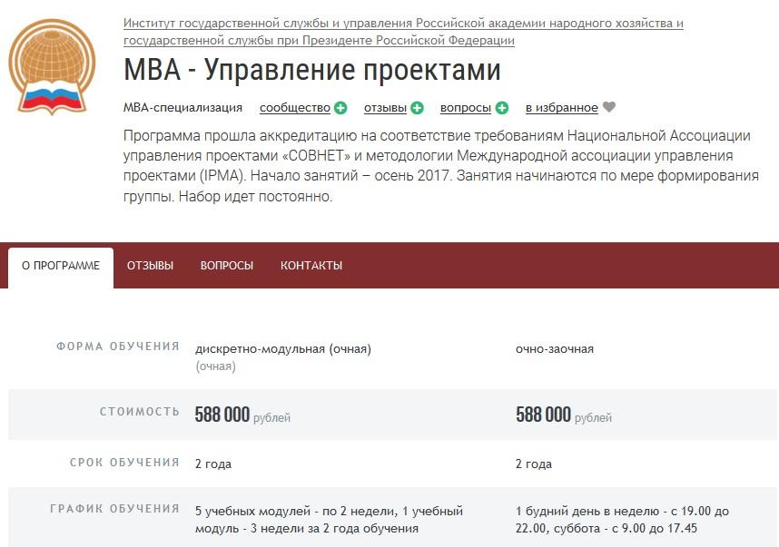 Курс МВА «Управление проектами»